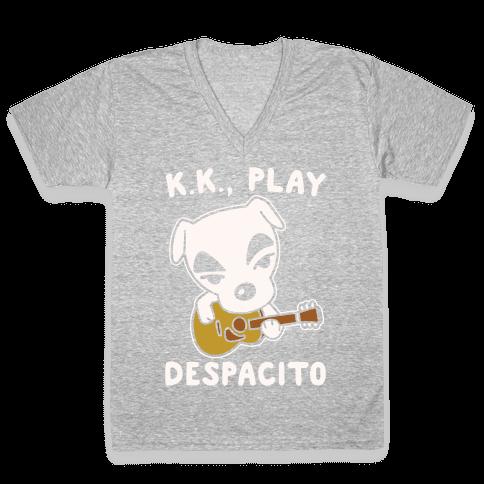 K.K. Play Despacito Parody White Print V-Neck Tee Shirt