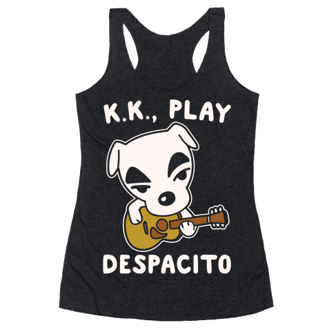 K.K. Play Despacito Parody White Print Racerback Tank Top