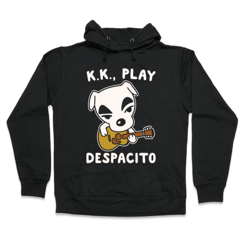 K.K. Play Despacito Parody White Print Hooded Sweatshirt
