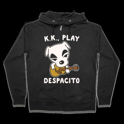 K.K. Play Despacito Parody White Print Zip Hoodie