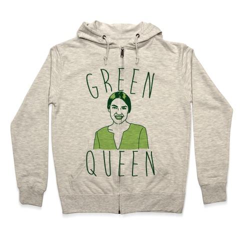 Green Queen AOC  Zip Hoodie