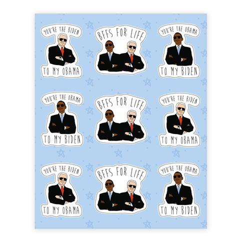 Obama and Biden Bffs Sticker Sheet Stickers and Decal Sheet