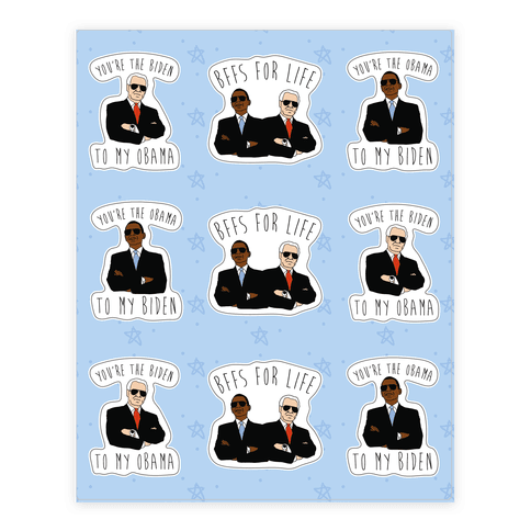 Obama and Biden Bffs Sticker Sheet Sticker/Decal Sheet