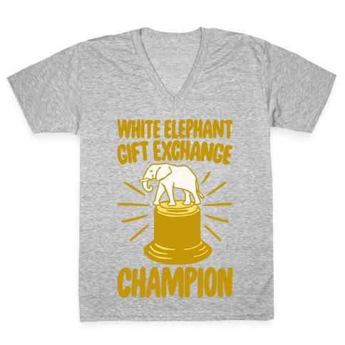 White Elephant Gift Exchange Champion White Print V-Neck Tee Shirt