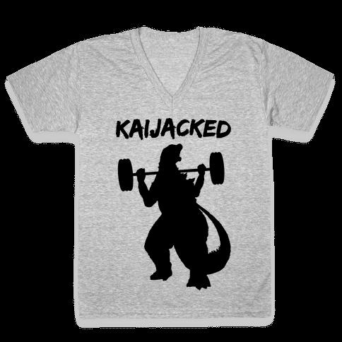 Kaijacked Kaiju Gozilla V-Neck Tee Shirt