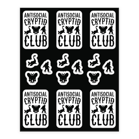 Antisocial Cryptid Club Sticker and Decal Sheet