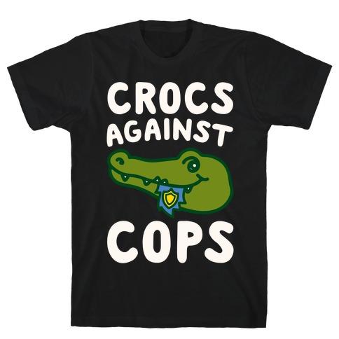 Crocs Against Cops White Print T-Shirt