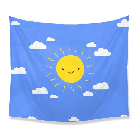 Happy Sun and Clouds Tapestry