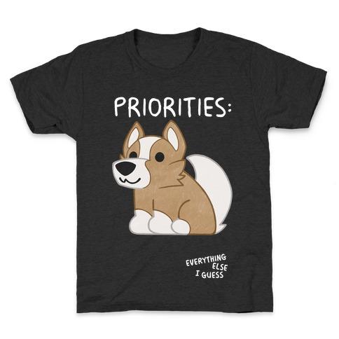 Corgi Priorities Kids T-Shirt