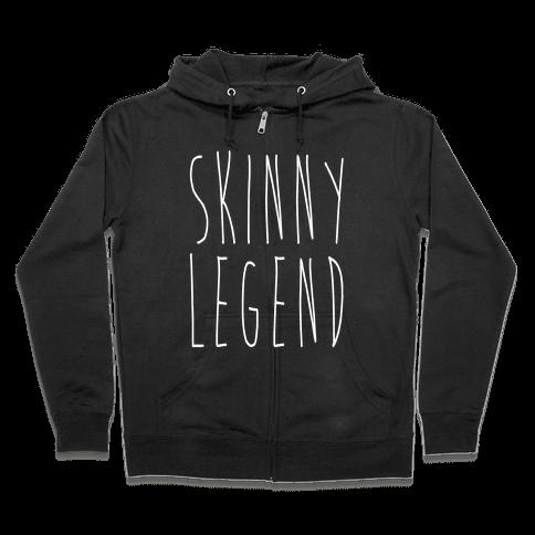Skinny Legend White Print Zip Hoodie