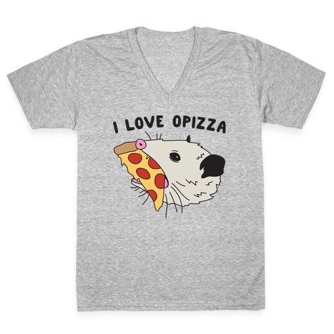 I Love Opizza Opossum V-Neck Tee Shirt