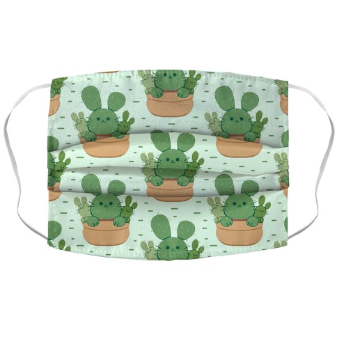 Bunny Ear Cactus Accordion Face Mask
