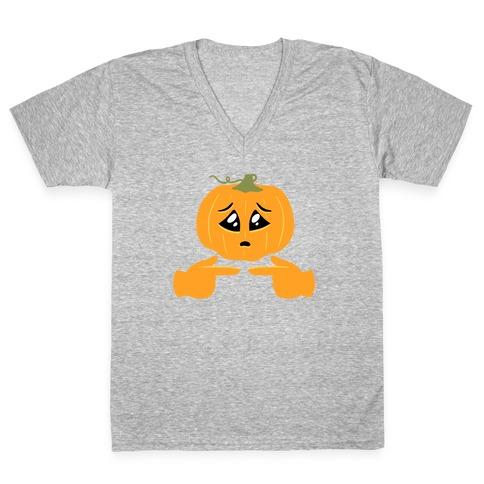 Shy Emoji Jack-o-Lantern V-Neck Tee Shirt