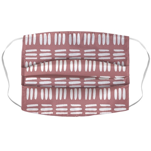 Dashed Lines Dusty Rose Boho Pattern Face Mask Cover