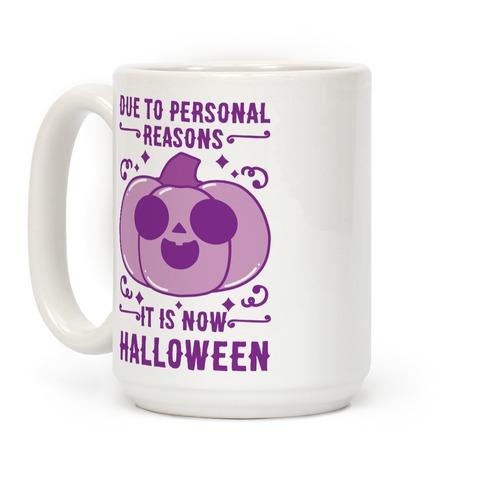 Due To Personal Reasons It Is Now Halloween Pumpkin (Purple) Coffee Mug