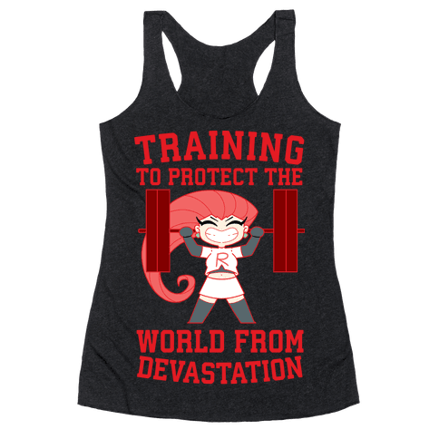Training To Protect Our World From Devastation Racerback Tank Top