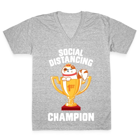 Social Distancing Champion V-Neck Tee Shirt