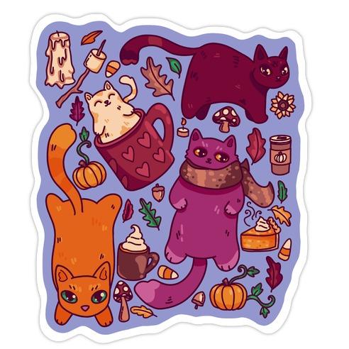 Fall Cats Pattern Die Cut Sticker