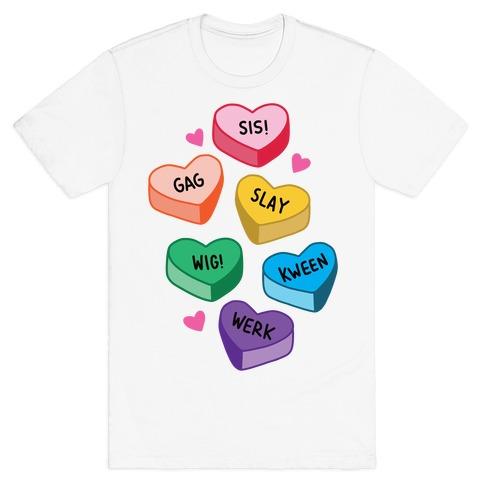 Gay Lingo Candy Hearts Mens/Unisex T-Shirt