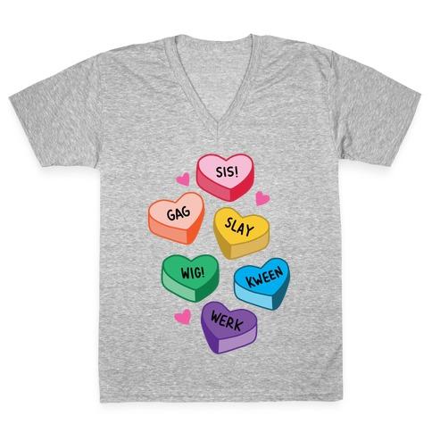 Gay Lingo Candy Hearts V-Neck Tee Shirt