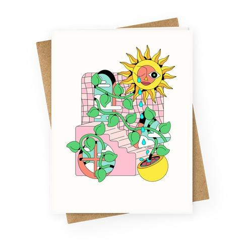 Trippy Sunflower Shower Greeting Card