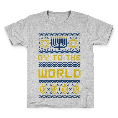 Oy To The World Ugly Sweater Kids T-Shirt