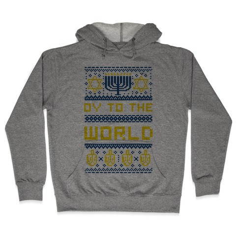 Oy To The World Ugly Sweater Hooded Sweatshirt