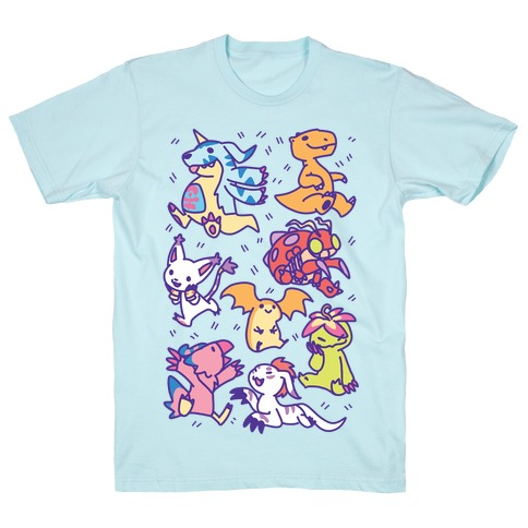 Digital Monsters Pattern T-Shirt