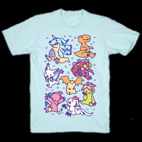 Digital Monsters Pattern Mens/Unisex T-Shirt