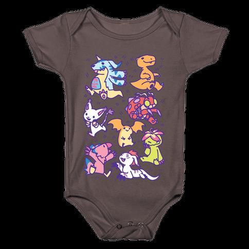 Digital Monsters Pattern Baby One-Piece