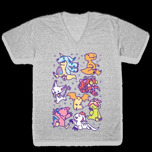 Digital Monsters Pattern V-Neck Tee Shirt