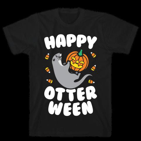 Happy Otterween (White) Mens T-Shirt