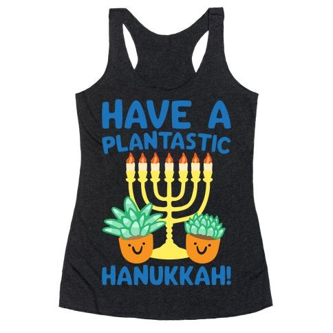 Have A Plantastic Hanukkah White Print Racerback Tank Top