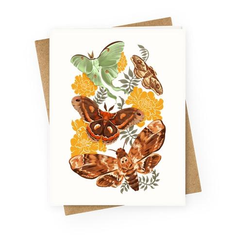 Moths & Marigolds Greeting Card