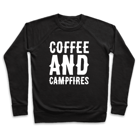 Coffee And Campfires White Print Pullover