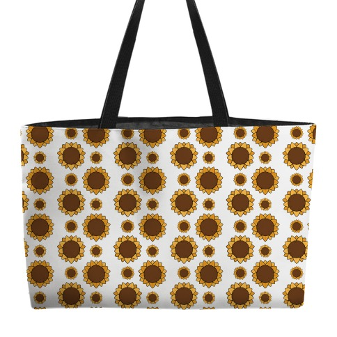 Sunflower Pattern White Weekender Tote
