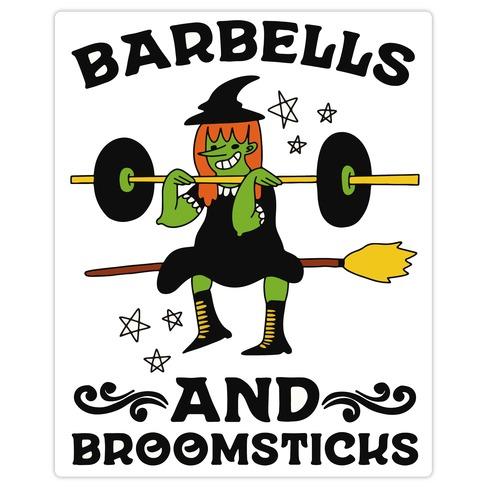 Barbells And Broomsticks Die Cut Sticker