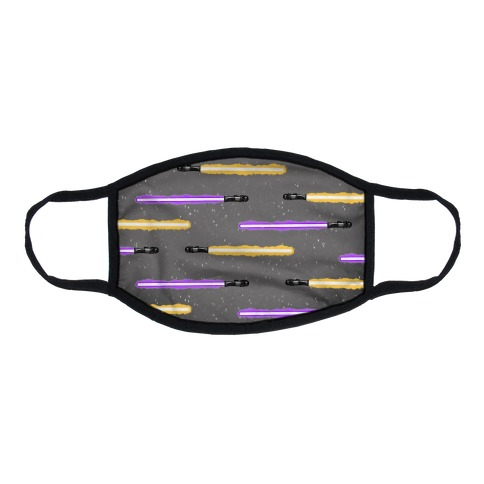 Yellow and Purple Lightsaber Pattern Flat Face Mask