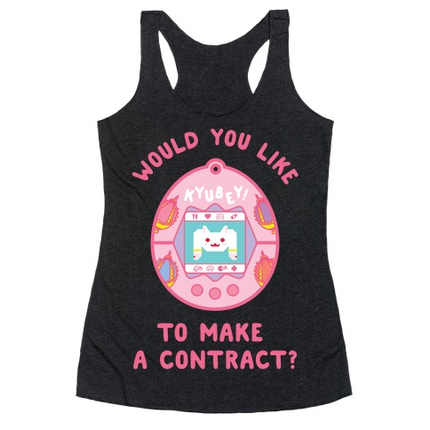 Kyubey Digital Pet Would You Like To Make a Contract? Racerback Tank Top