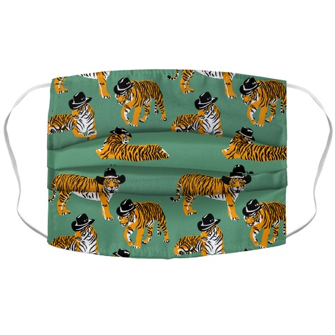Tigers in Cowboy Hat Pattern Face Mask Cover