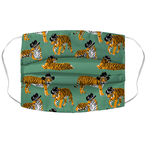 Tigers in Cowboy Hat Pattern Accordion Face Mask