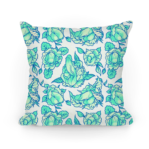 Floral Penis Pattern Teal Pillow
