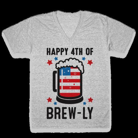 Happy 4th of Brew-ly V-Neck Tee Shirt