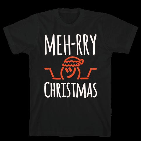 Meh-rry Christmas Parody White Print Mens T-Shirt
