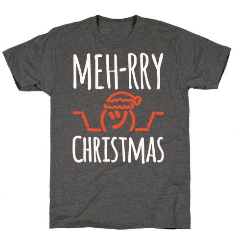 Meh-rry Christmas Parody White Print T-Shirt