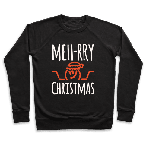 Meh-rry Christmas Parody White Print Pullover