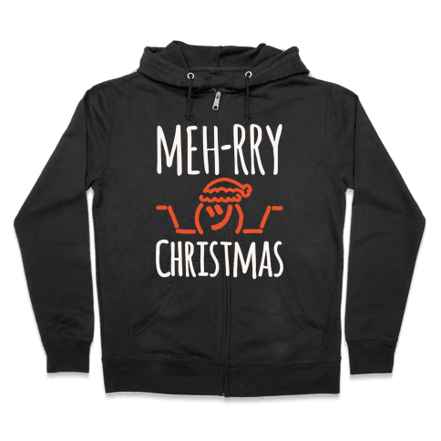 Meh-rry Christmas Parody White Print Zip Hoodie