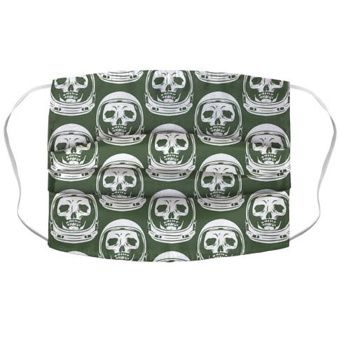 Skulls in Astronaut Pattern Green Accordion Face Mask
