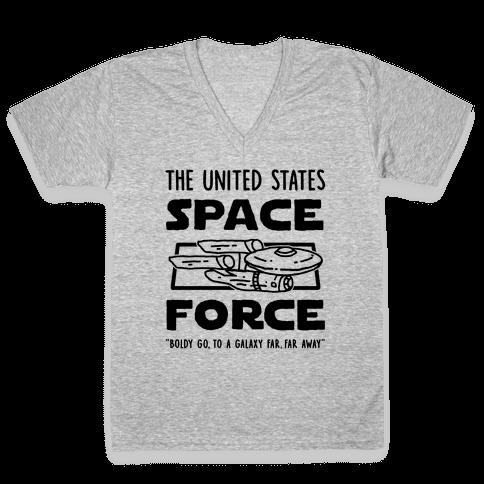 Space Force (Boldly go, to a Galaxy Far, Far Away) V-Neck Tee Shirt