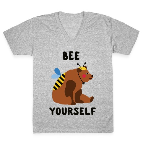 Bee Yourself Bear V-Neck Tee Shirt